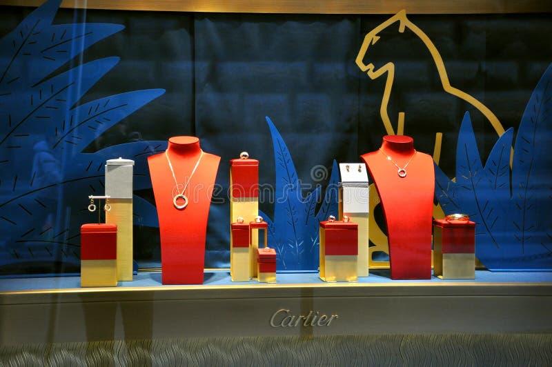 De winkel van Cartier stock afbeeldingen