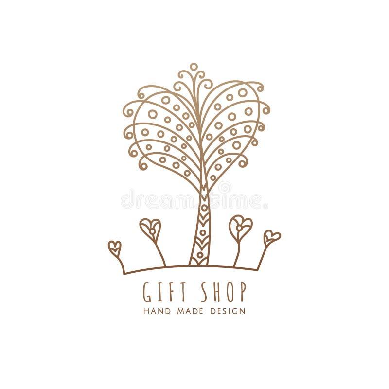 De winkel van de embleemgift vector illustratie