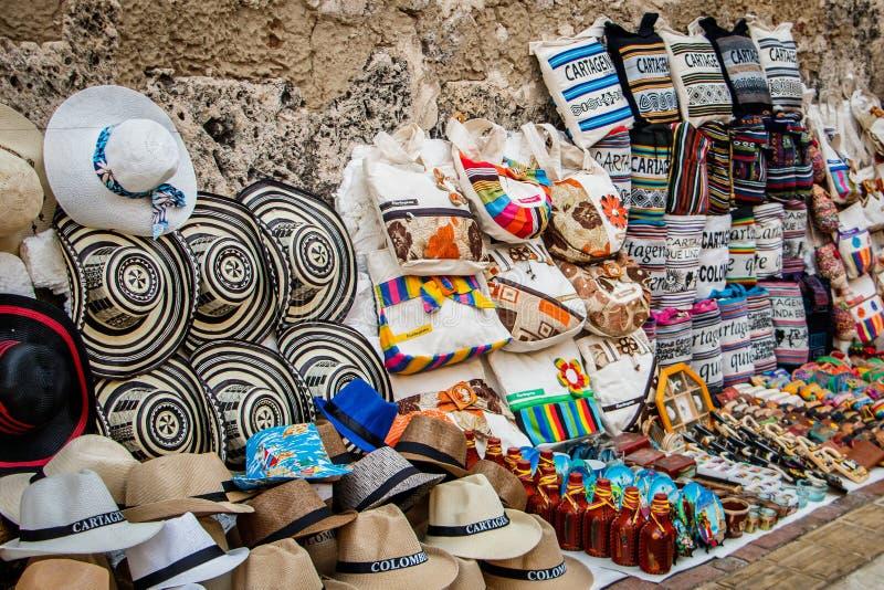 De winkel van de herinneringsstraat in Cartagena, Colombia stock foto's