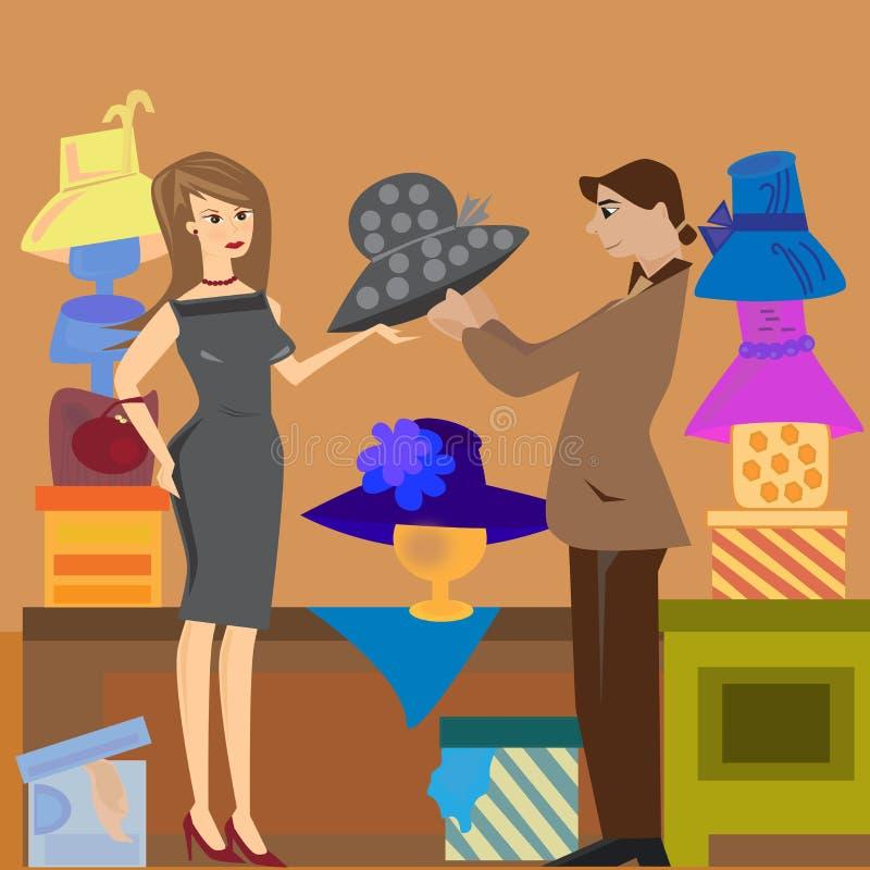 De winkel van de hoed stock illustratie