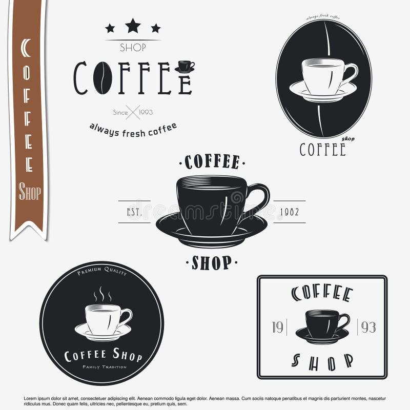 De Winkel van de koffie Het voedsel en de dienst Reeks Typografische etiketten stock illustratie