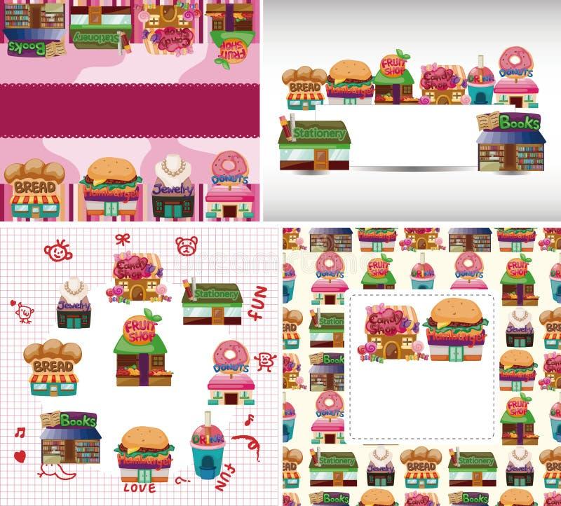 De winkel van het beeldverhaal/huiskaart stock illustratie