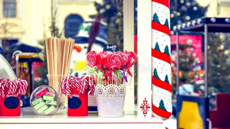 De Winkel van het Kerstmissuikergoed Openlucht royalty-vrije stock foto