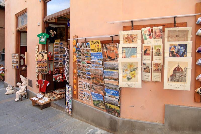 De winkel van de straatherinnering in de Oude stad van Siena, Toscanië, Italië stock afbeelding