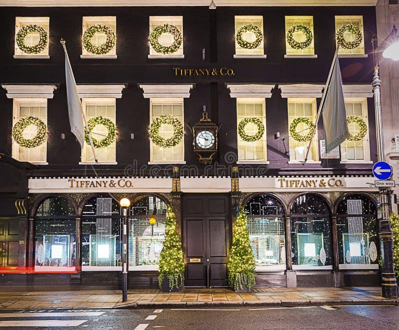 13 de winkel van Tiffany van November 2014 op Nieuwe Bandstraat, Londen, decorum royalty-vrije stock fotografie