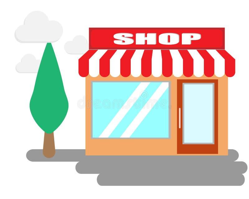 De winkelbouw en boom op de wolkenachtergrond stock foto