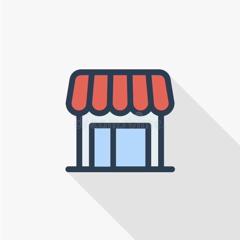 De winkelbouw het dunne pictogram van de lijn vlakke kleur Lineair vectorsymbool Kleurrijk lang schaduwontwerp stock illustratie