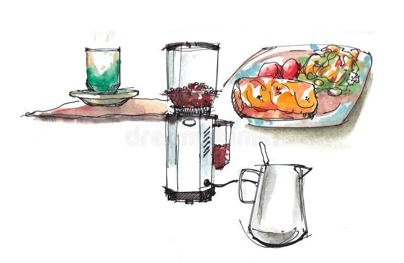 De winkelillustratie van de koffiekoffie royalty-vrije illustratie