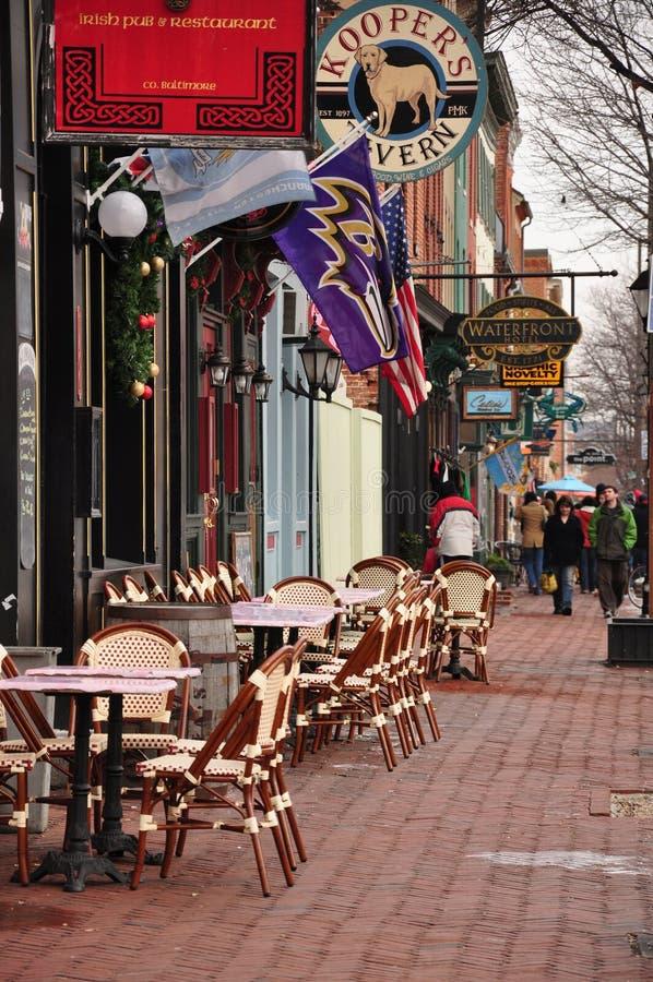 De winkels bij Fells Punt, Baltimore, M.D. stock afbeeldingen