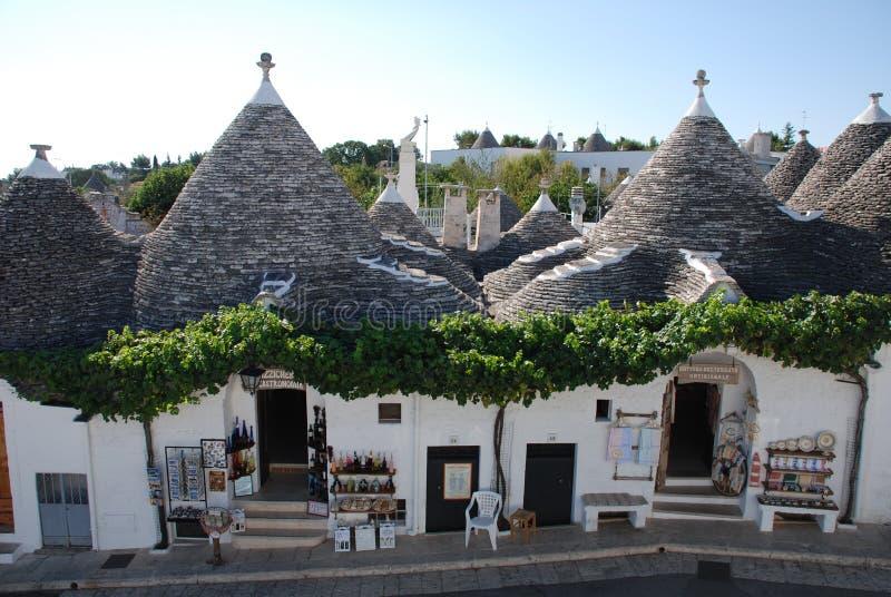 De Winkels van de Herinnering van Alberobello, Puglia stock afbeelding