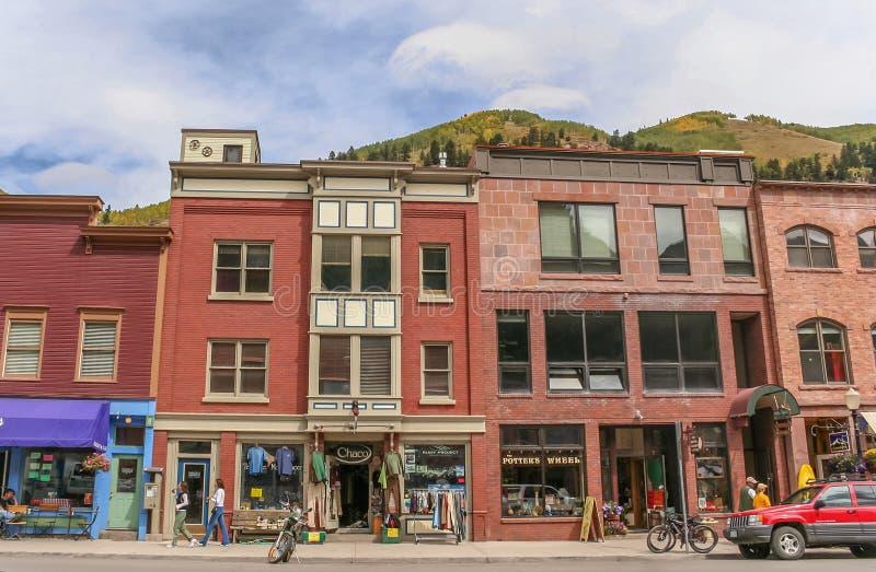 De winkels van de telluridehoofdstraat in Colorado royalty-vrije stock afbeelding