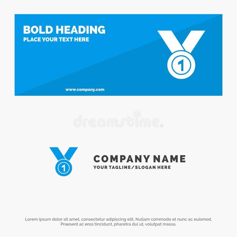 De winnaar, bereikt, kent, Leider, Medaille, Lint, de Websitebanner en Zaken Logo Template van het Winst Stevige Pictogram toe stock illustratie