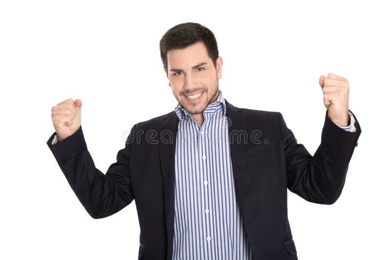 De winnaar: De geïsoleerde succesvolle zaken in het winnen stellen met hallo stock afbeeldingen