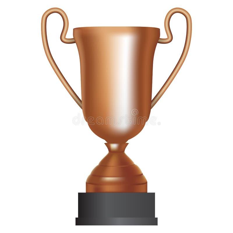 De winnaar derde plaats van de bronskop op witte achtergrond Vector illustratie vector illustratie