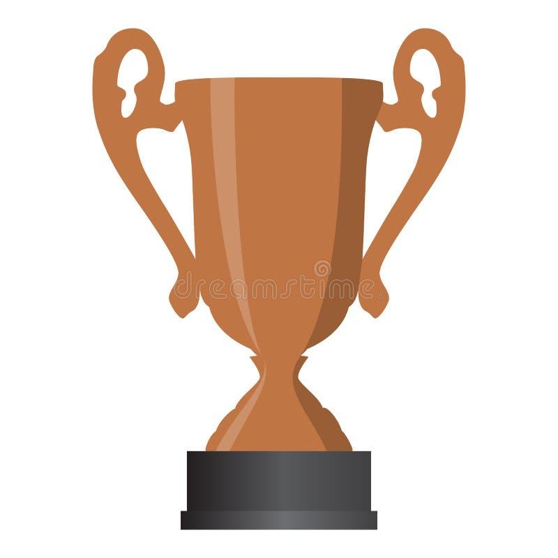 De winnaar derde plaats van de bronskop op witte achtergrond Vector illustratie royalty-vrije illustratie