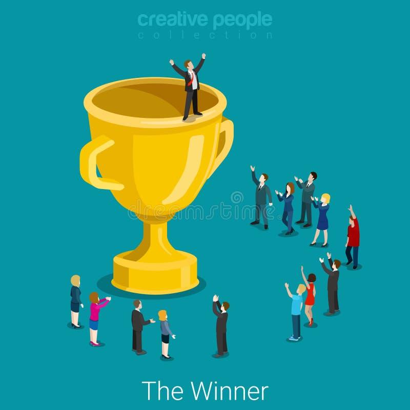 De winnaar van de bedrijfs koptrofee succesvolle vlakke 3d vector isometrisch vector illustratie
