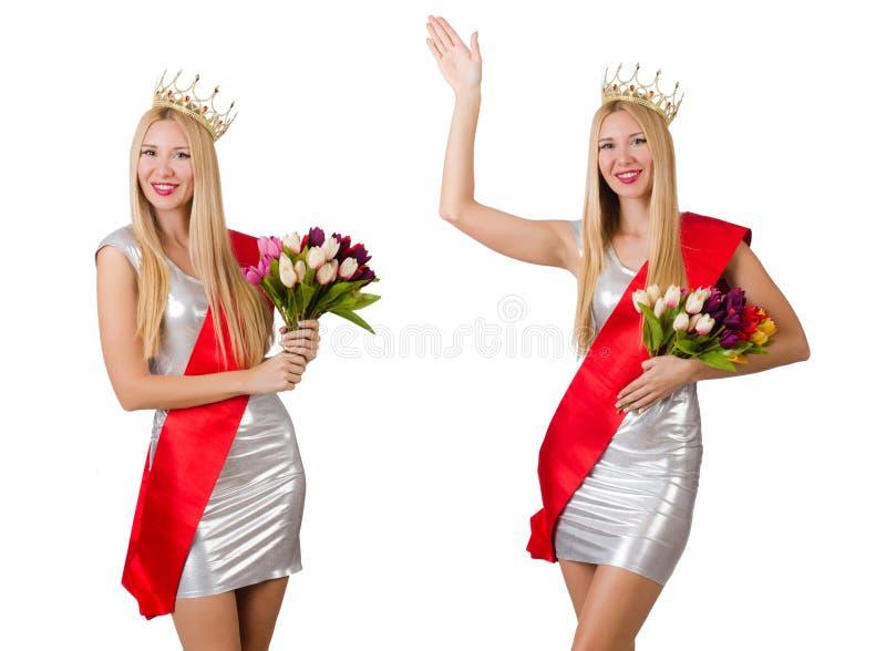 De winnaar van de schoonheidswedstrijd op het wit wordt geïsoleerd dat royalty-vrije stock afbeelding