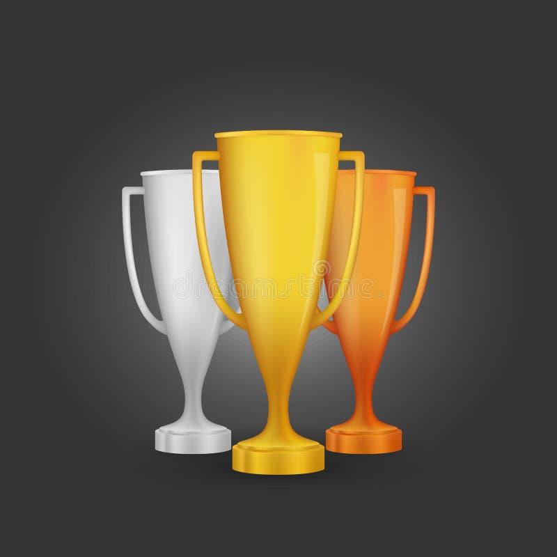 De winnaarkoppen van de beeldverhaaltoekenning De reeks van de gouden, zilveren en bronstrofee Vector illustratie royalty-vrije illustratie