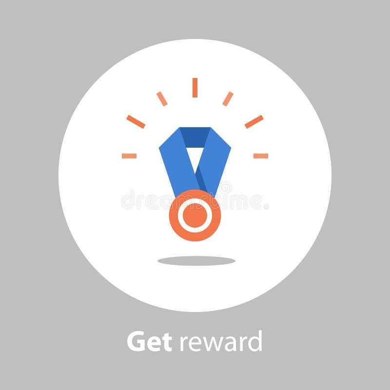 De winnaarmedaille, beloningsprogramma, eerste plaats, wint super prijs, voltooiing en het verwezenlijkingsconcept, verdient punt vector illustratie