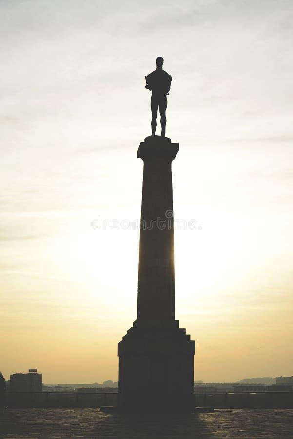 De winnaarmonument van Belgrado in Belgrado Servië stock foto's