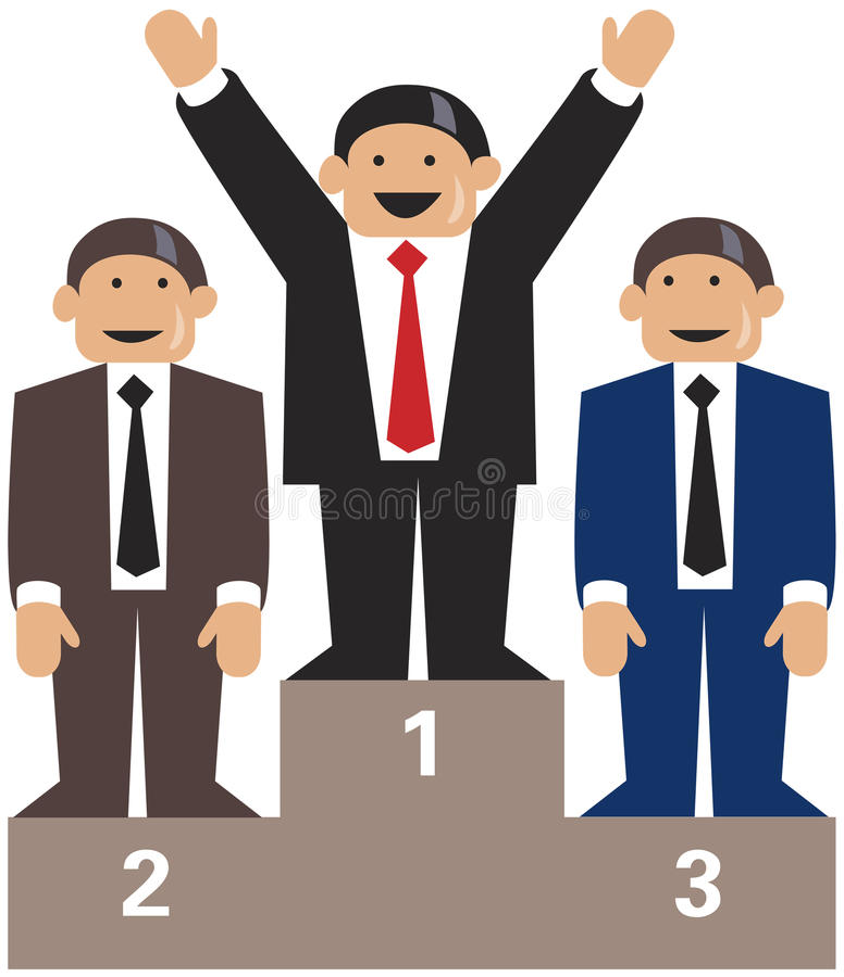 De winnaars van het bedrijfsmensenpodium stock illustratie