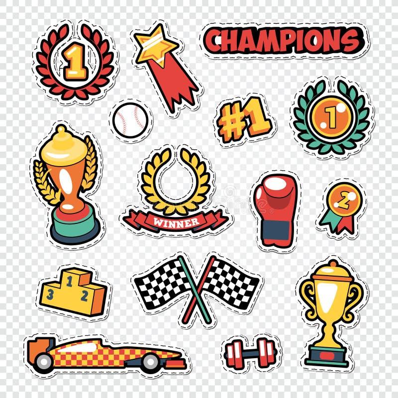 De Winnaarstickers van de sporttrofee met Medailles, Podium en Toekenning worden geplaatst die vector illustratie