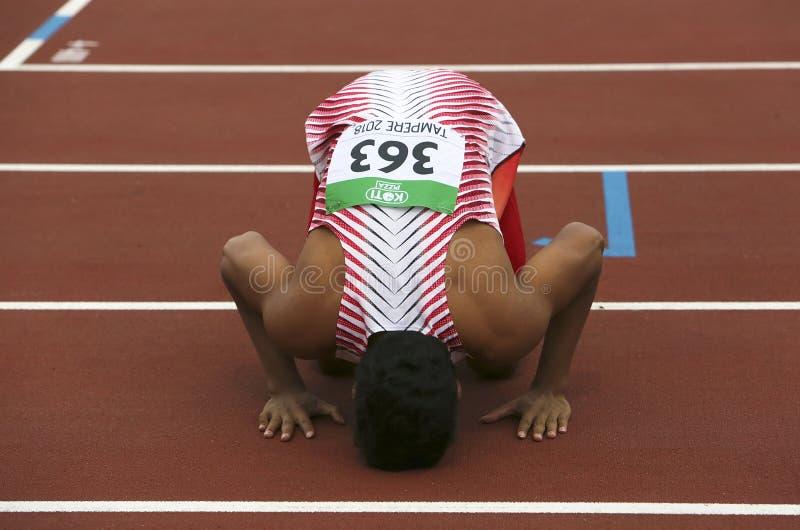 De winst gouden medaille van LALU MUHAMMAD ZOHRI Indonesi? in 100 metrs op het IAAF-Wereldu20 Kampioenschap binnen royalty-vrije stock foto