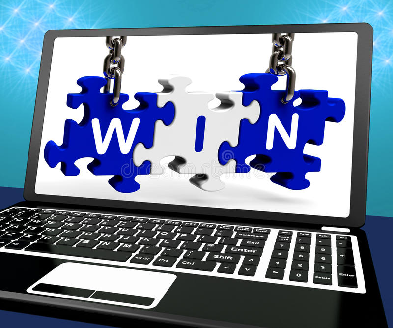 De winst op Laptop toont Online Gokkenkampioen vector illustratie