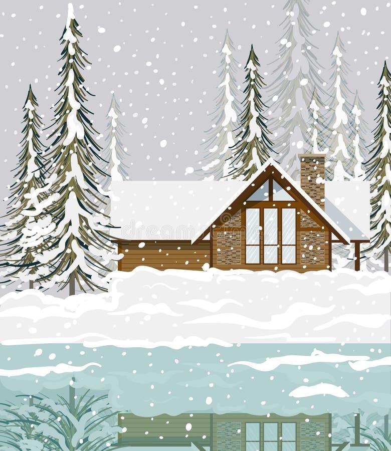 De winter achtergrondmening van een huis in de bosdieSparren in sneeuw Vectorillustratie worden behandeld stock illustratie