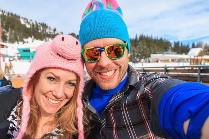 De winter apres-ski selfie stock fotografie