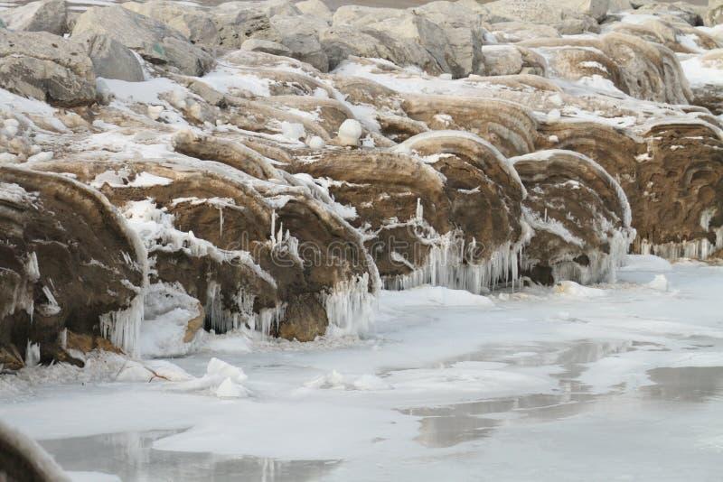 De winter bij Meer Michigan, WI stock afbeeldingen