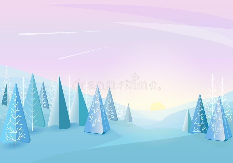 De winter bos abstracte vlakke achtergrond Eenvoudig de tekening van Kinderen Eenvoudig en leuk landschap voor uw ontwerp royalty-vrije illustratie