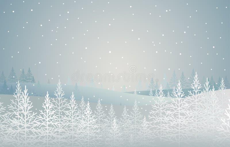 De winter bos snow-covered sparren op heuvel Landschap Het thema van Kerstmis royalty-vrije illustratie