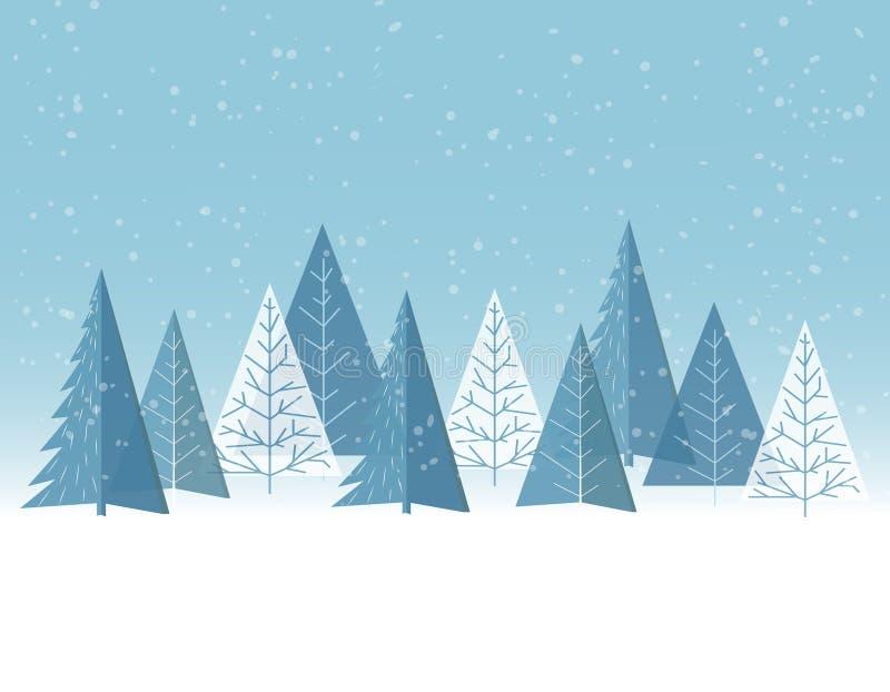 De winter bos vlakke achtergrond Kinderen` s tekening Eenvoudig en leuk landschap voor uw ontwerp stock illustratie