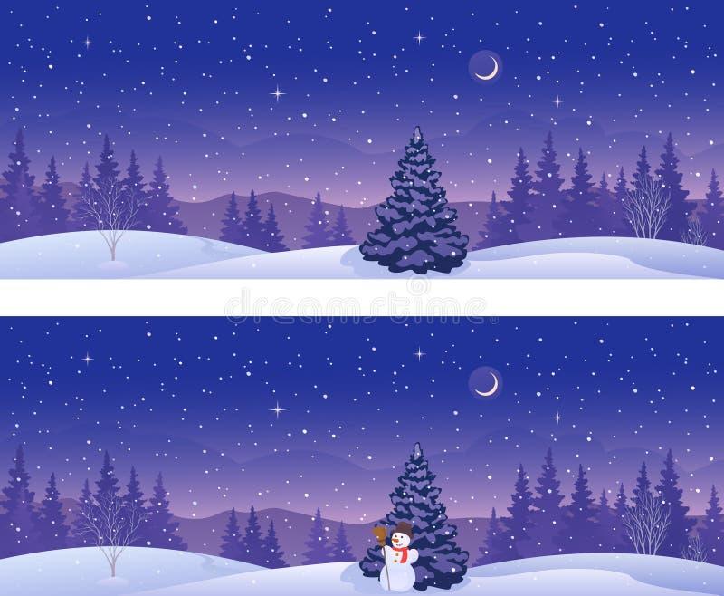 De winter bosbanners royalty-vrije illustratie