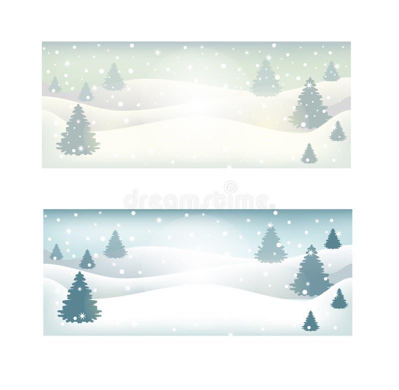 De winter boslandschap met nette sparren en sneeuwvlokken, witte, groene en blauwe silhouetten Vector vector illustratie