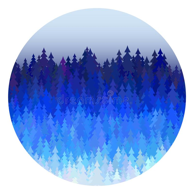 De winter bospanorama met blauwe vector het landschapsillustratie van Kerstmisbomen royalty-vrije illustratie
