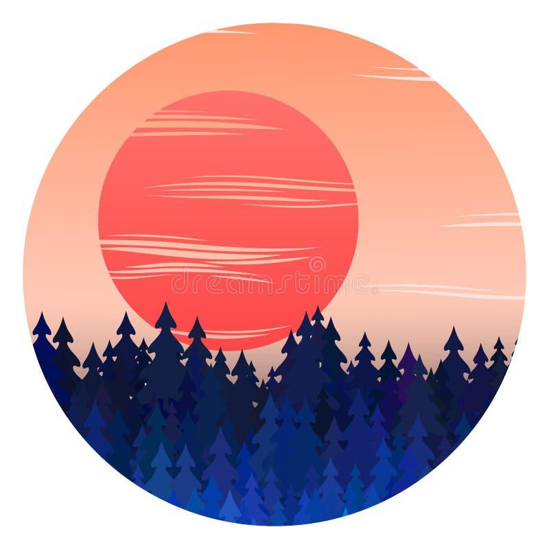 De winter bospanorama met zonsondergang en Kerstmisillustratie van het bomen de vectorlandschap royalty-vrije illustratie
