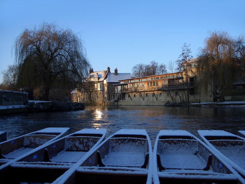 De winter in Cambridge royalty-vrije stock fotografie