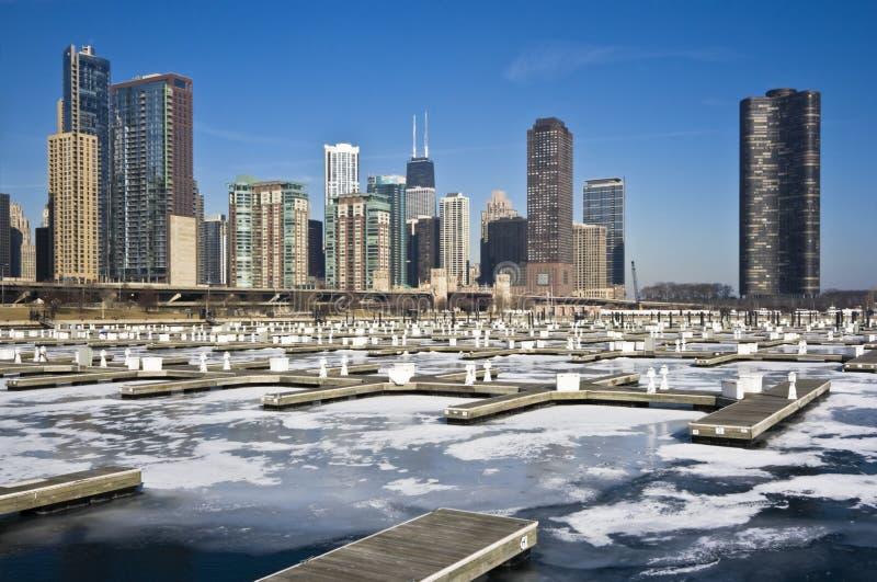 De winter in Chicago stock afbeelding