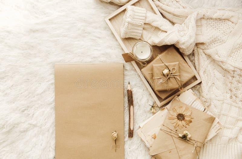 De winter comfortabele achtergrond met oude brieven en droge bloemen stock foto