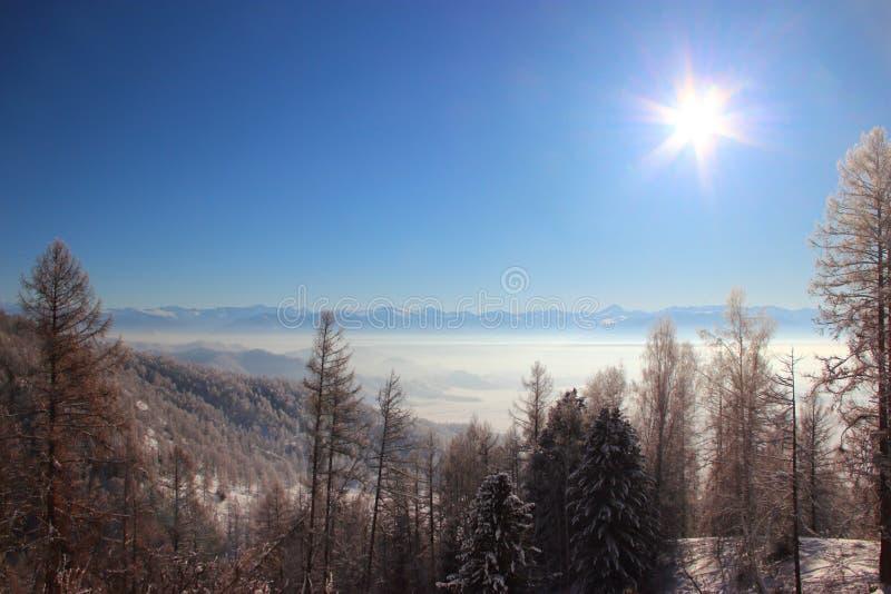 De winter in de Altai-Bergen royalty-vrije stock afbeeldingen