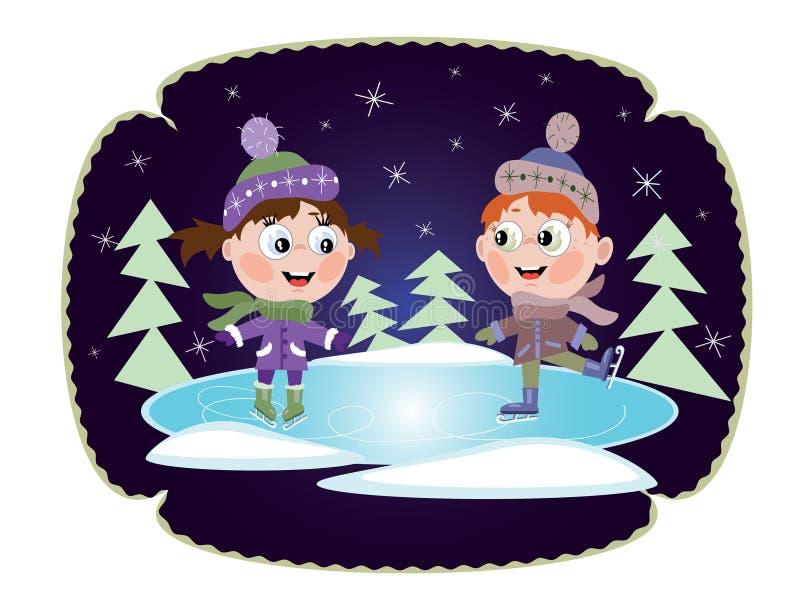 De winter: De het schaatsende meisje en jongen van het ijs vector illustratie