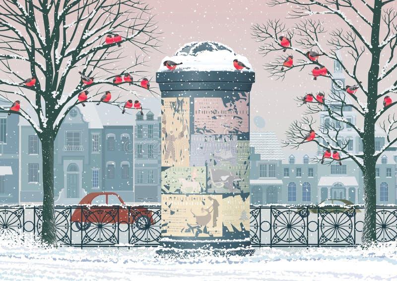 De winter in de stad stock illustratie
