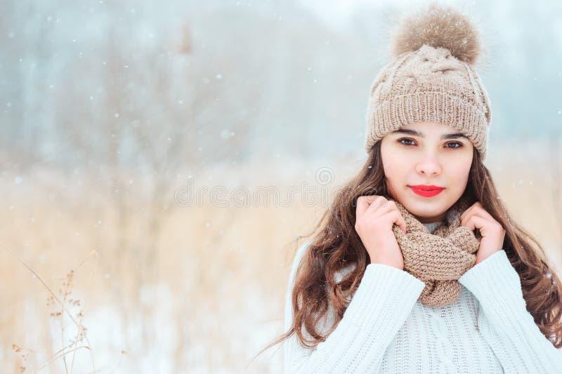 de winter dicht omhooggaand portret van mooie jonge vrouw in het gebreide hoed en sweater openlucht lopen stock fotografie