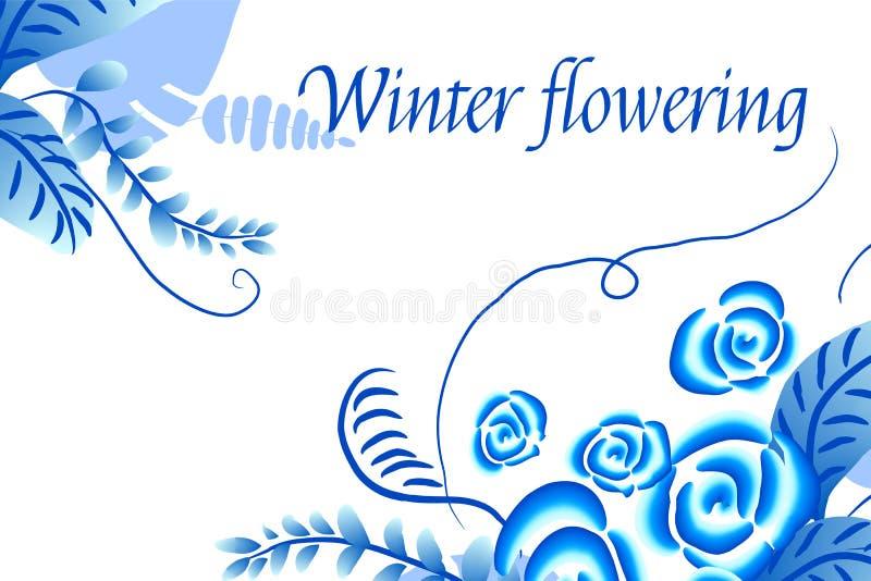 De winter die Abstracte vector bloemenachtergrond bloeien royalty-vrije illustratie