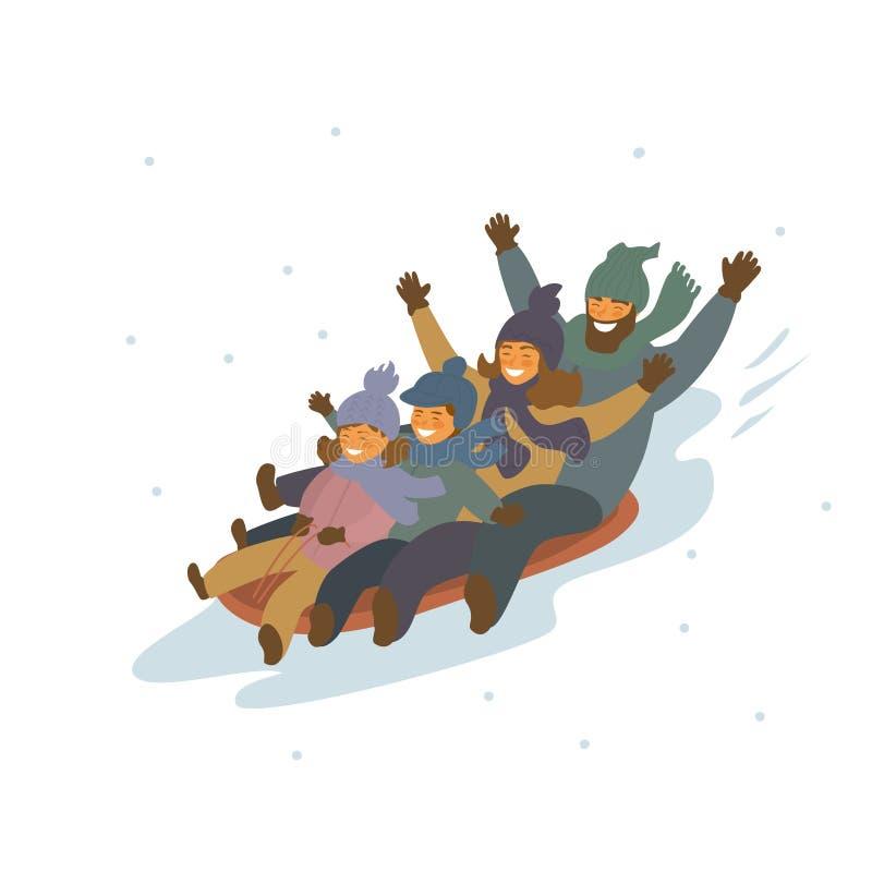 De winter die van de beeldverhaalfamilie bergaf samen geïsoleerde vectorillustratiescène sledding vector illustratie