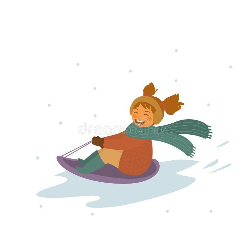 De winter die van het babymeisje bergaf geïsoleerde vectorillustratie sledding royalty-vrije illustratie