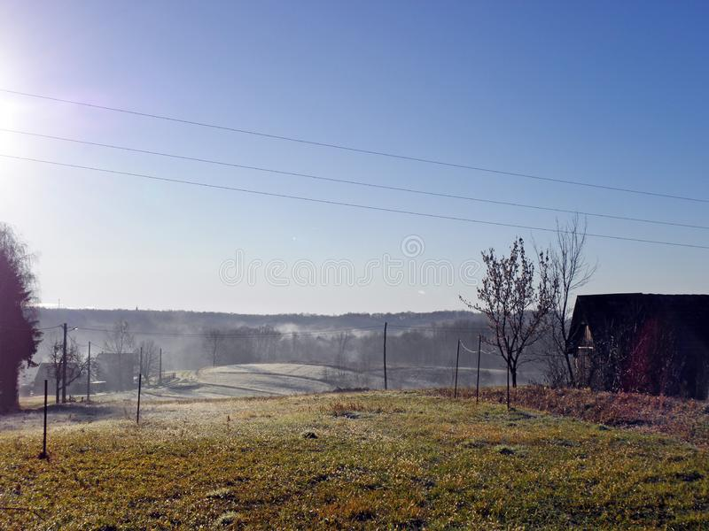 De winter door Komst, Kroatisch platteland, zonsopgang, 5 royalty-vrije stock foto's