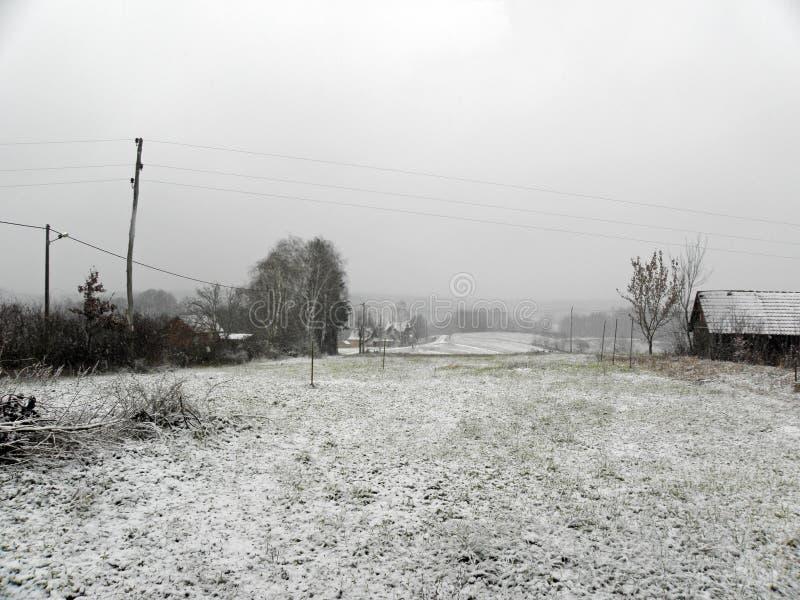 De winter door Komst, Kroatische plattelandsgebieden, 10 royalty-vrije stock foto